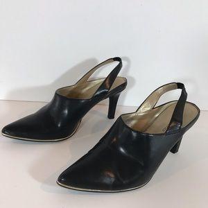 Bandolino Black leather sling back heels